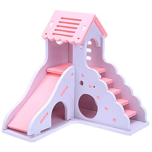 Lai-LYQ Kleurrijke Mini Houten Slide DIY Assemble Hamster Huis Kleine Dieren Huisdier Speelgoed - Blauw, Pink, roze