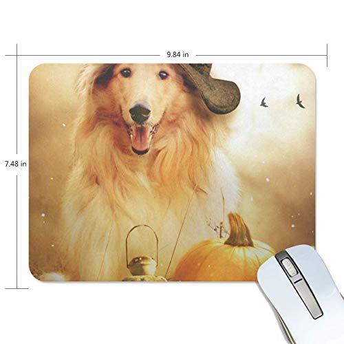 Grappige Muis Pad Gepersonaliseerde Hond Heks Hoed Rechthoek Vorm voor Office Computer Werk (9.84 x 7.48 inch)
