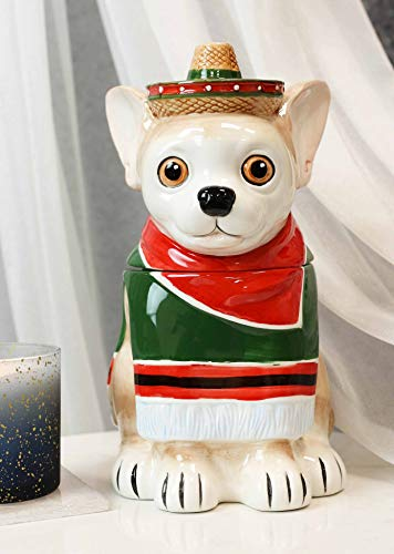 Ebros Ceramic Cinco De Mayo Fiesta Chihuahua Dog With Sombrero Hat And Serape Blanket Cookie Jar With Air Tight Lid 10' Tall Decorative Kitchen Countertop Accessory Figurine