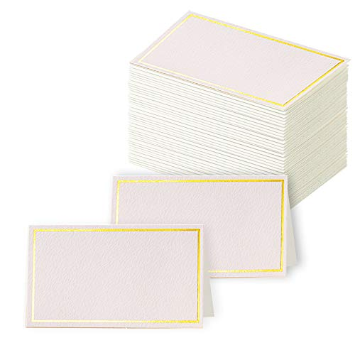 Toncoo 100Pcs Premium Place Cards, Small Table Cards with Gold Foil Border, Escort Cards, Name Cards, Wedding Place Cards for Wedding, Table, Dinner Parties, Seating Cards, 2' x 3.5'