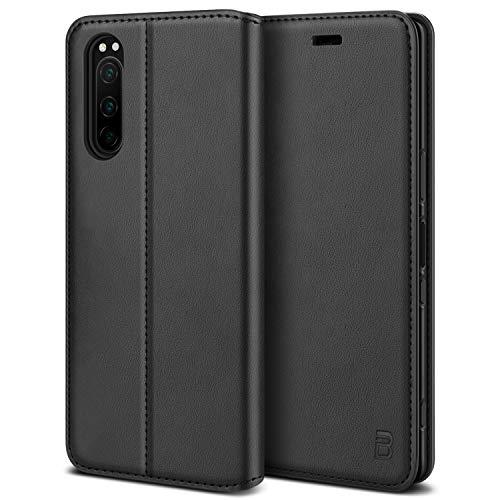 BEZ Handyhülle für Sony Xperia 5 Hülle, Premium Tasche Kompatibel für Sony Xperia 5, Tasche Hülle Schutzhüllen aus Klappetui mit Kreditkartenhaltern, Ständer, Magnetverschluss, Schwarz
