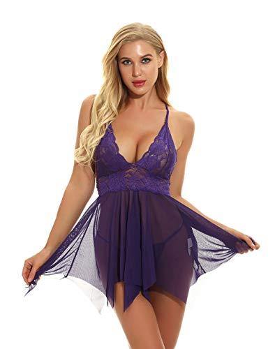opdamyi Dentelle Chemise col V Babydoll Lingerie Dos Ouvert Robe de Nuit Lingerie sous-vêtements pour Femmes avec des Culottes