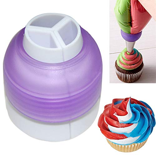 Tmrow Icing Piping Bag Nozzle Converter Tri-Color Cream Coupler Cake Decorating Tool