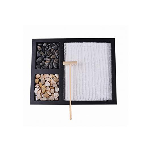 Comtervi Zen Zen zandtuin voor op het bureau, miniatuurzandtuin, harken, Boeddha-Zen-tuin voor de tafel, voor ontspanning/meditatie
