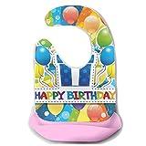 Babero Ilustración de Vector de niño recién nacido Feliz cumpleaños Delantal...