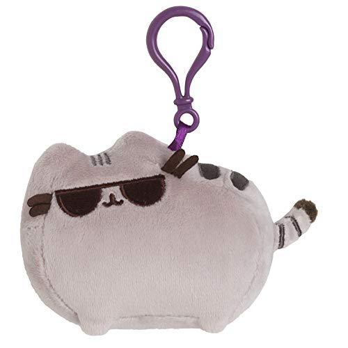 GUND Pusheen with Sunglasses Cat Plush Stuffed Animal Backpack Clip, Gray, 4.5'