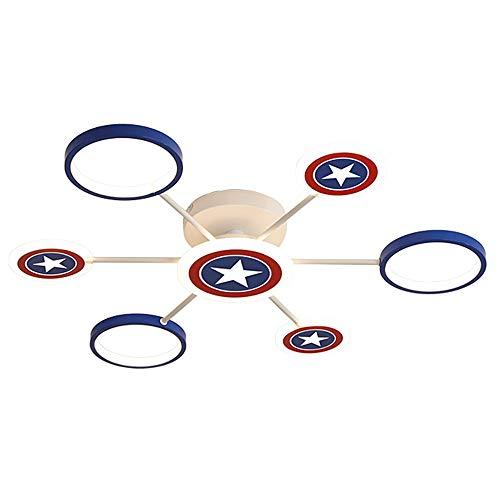 Lámpara infantil Regulable LED Lámpara de techo 3000K/4000K/6000K Lámpara de dormitorio Capitán América Shield Lámpara de habitación infantil Techo de lámpara Metal Acrílico Luz de techo,Ø85x11cm 67W