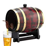 Jadpes Wooden Wine Barrel, 3L Household Oak Wood Wine Barrel Keg Bucket Home Brewing Equipment for Char-Broil Charred American Oak Aging