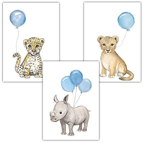 Frechdax® 3er Set Kinderzimmer Poster Baby Bilder DIN A4   Waldtiere Safari Afrika Tiere Tierposter Luftballon Ballon Farbwahl (3er Set Blau, Löwe, Nashorn, Leopard)