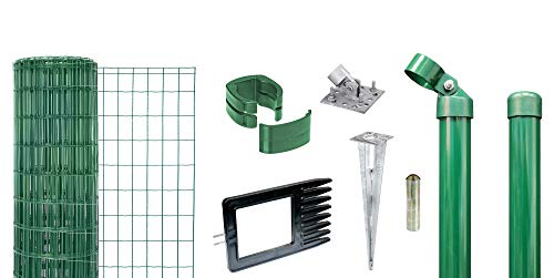 GAH-Alberts 633592 Fix-Clip Pro als Zaun-Komplettset, mit Einschlagbodenhülse | verschiedene Längen und Höhen - wahlweise in verschiedenen Farben | grün | Höhe 153 cm | Länge 25 m