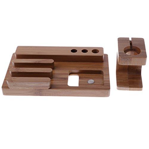 D DOLITY 2en 1Estación de Carga Plana con ambanduhr 3Port USB Hub Cargador Estación de bambú para iWatch iPhone