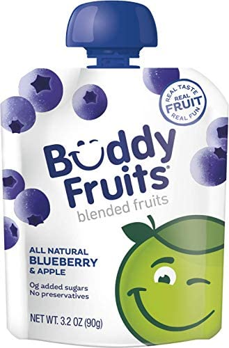Buddy Fruits Pure Blended Fruit To Go Apple and Blueberry Applesauce 100 Real Fruit No Sugar product image