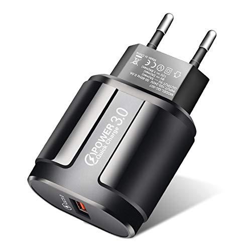 QueenDer Quick Charge 3.0 USB Cargador de Red 18W Cargador Móvil para iPhone Samsung Android Smartphones Tablet y Otros (Black)
