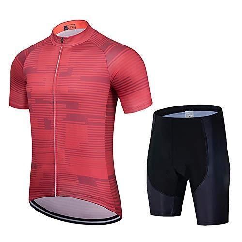 Traje De Jersey De Ciclismo para Hombre Conjunto De Ropa De Bicicleta De Manga Corta Top MTB + Culotte con Tirantes Acolchado (Color : H, Talla : L)