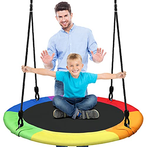 Outdoor Spinner Saucer Tree Swing - Hanging Tree Round Circular Flying Saucer w/ Rope Straps, Cushion Padded Metal Frame, Polyester Fabric Seat, for Kids & Adult - SereneLife SLSWNG100RB (Rainbow)