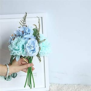 Artificial and Dried Flower Silk Dahlia Rose Hydrangea Artificial Flowers Silk Rose Dahlia Bouquet Flowers Wedding Home Decoration Fake Flower Roses
