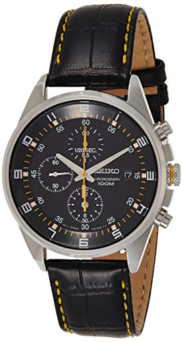 Seiko - SNDC89P2 - Men's Watch - Quartz Chronograph - Black Dial - Black Leather Strap