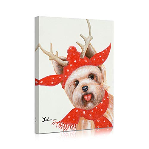 B BLINGBLING Dog Christmas Pictures for Wall Decorations, Cute Smile Terrier Dog in Red Christmas Deer Hat and Scarf, Dog Poster Ready to Hang 12'x16'