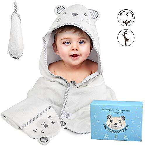 BelleStyle Kapuzenbadetuch Baby, Babyhandtuch mit Kapuze, Bademantel, Badetuch, Babydecke, Kuscheldecke, Babybademantel aus Weiches Hypoallergenes Bio Baumwolle, Geschenk für Neugeborene, Kleinkinder