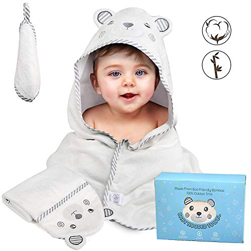 BelleStyle badhanddoek met capuchon, grote handdoek - extra zacht en absorberend voor baby's, peuters, pasgeborenen, babyhanddoeken met washandje, perfect babydouchecadeau voor jongens en meisjes