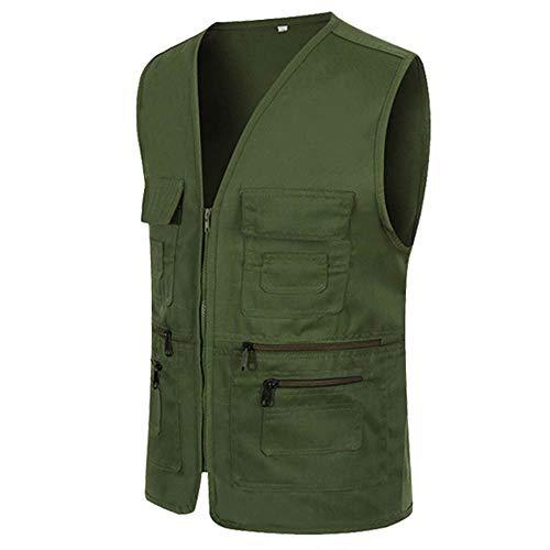 UJUNAOR Männer Ärmellose Cargo Jacke Multi-Pocket-Jackenmantel für Herren(Armeegrün,CN L)