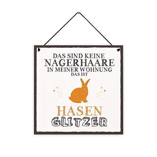 Fashionalarm Holzschild - Das sind Keine Nagerhaare - Hasen Glitzer Bedruckt | Deko-Schild mit Spruch als Geschenk-Idee Hasen-Besitzer Kaninchen, ca. 20x20 cm, 8 mm
