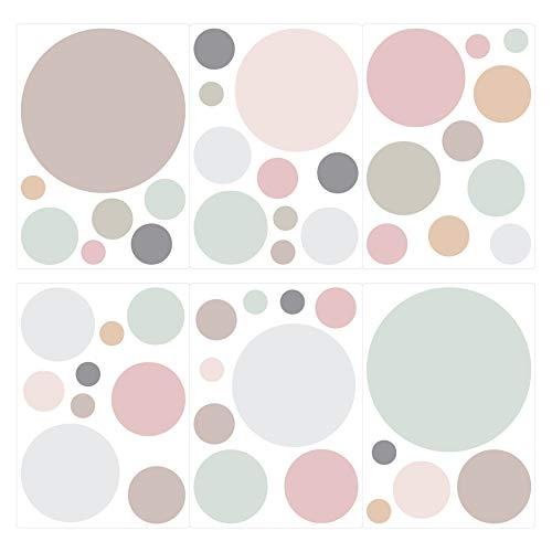 I-love-Wandtattoo Pegatina de Pared Set habitación Infantil círculos en Colores Pastel en Tonos Suaves Unidades Puntos para Pegar Adhesivos de Pared Pegatinas decoración de la Pared