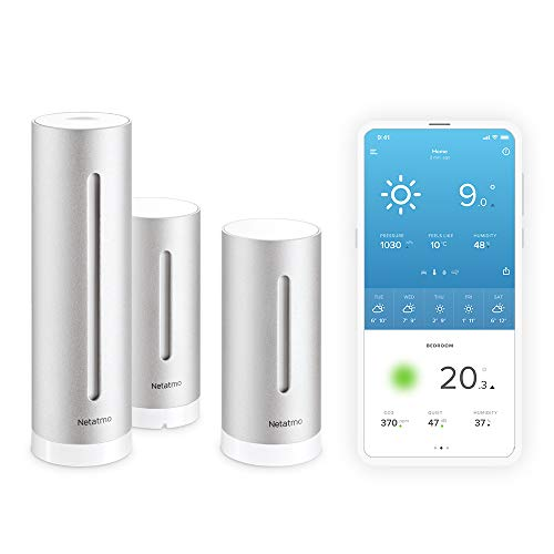 Set Netatmo Smarte Wetterstation + Zusätzliches Innenmodul + WLAN + Funk + Innen- und Außensensor + Amazon Alexa