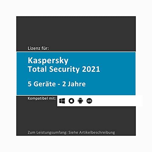 Preisvergleich Produktbild Lizenz für Kaspersky Total Security / 2021 / 5 Geräte / 2 Jahre / Vollversion (als Update & Standart verwendbar) / PC / Mac / Android / Lizenzcode per Post in einer frustfreien Verpackung (FFP)