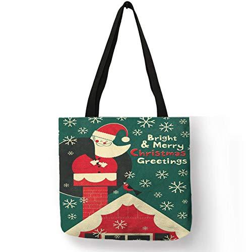 LINADEBAO Leuke Schilderij Handtas Dames Vrolijk Kerstmis Sneeuwde Lucky Beste Dier Gedrukt Eco Linnen Grote Casual School Winkelzakken