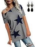 BUOYDM Mujer Camiseta de Fiesta Manga Corta Sin Tirantes Casual T-Shirt para Verano Gris XXL