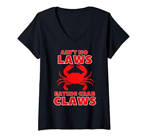 Damen Blue Claws Crab Angelausrüstung Ain't Keine Gesetze Bier T-Shirt mit V-Ausschnitt