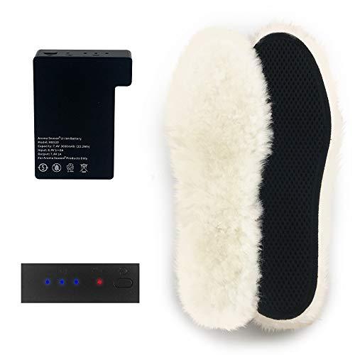 Aroma Season® | Beheizbare Einlegesohlen mit Akku | Warme beheizte Füße den ganzen Tag beim Skifahren, Snowboarden, Wandern, Angeln | hohe Heiz- und Akkuleistung | Schuhsohle aus Schafswolle