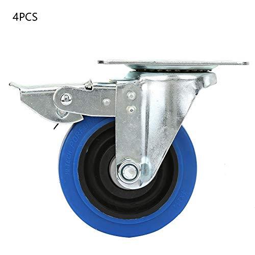4 stuks 4 inch wielen van rubber kogellagers draaibaar voor trolley meubels tafel salontafel rolstoel met rem