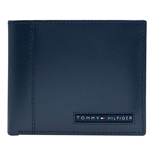 Tommy Hilfiger - Portafoglio da uomo in pelle, con blocco RFID sottile, con porta carte amovibile e confezione regalo -  Blu -  taglia unica