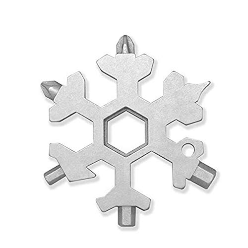 15 en 1 forme de flocon de neige multifonction tournevis en acier inoxydable multi outil gadget multifonctionnel extérieur en acier inoxydable flocon de neige multi-outil carte portable porte-clé