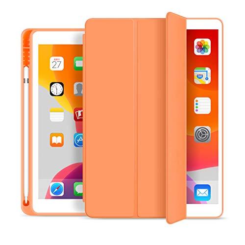 """aoub iPad 6/5. Generation 9,7\"""" Hülle 2018/2017 mit Stifthalter Dünn Leicht Smart Schutzhülle Standabdeckung Auto Aufwachen/Schlafen für Apple iPad 9,7Zoll Modell A1822 / A1823 / A1893/A1954,(Orange)"""