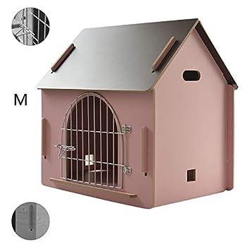 Cages et chenils Maison pour Animaux lit pour Animaux de Compagnie Villa pour Animaux de Compagnie Niche pour Chien en Plein air Litière pour Chat d'intérieur (Color : Pink, Size : 51 * 39.5 * 52cm)