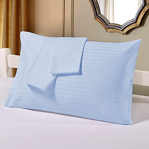 Bedding Attire 2 piezas fundas de almohada de algodón egipcio a rayas 600 TC Queen 50 x 75 cm y color azul cielo