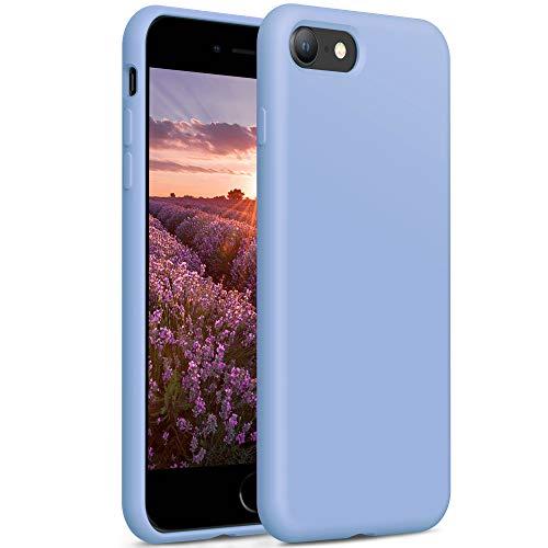 YATWIN Compatibile con Cover iPhone SE 2020 4,7'', Compatibile con Cover iPhone 8 e iPhone 7 Silicone Liquido, Protezione Completa del Corpo con Fodera in Microfibra, Azzurro