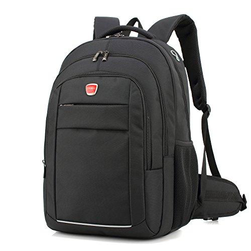 Coolbell 17.3 Pouces Laptop Backpack Sac bandoulière Bagagerie/Voyage Multifonctionnel Unisexe Sac à Main Tissu Oxford imperméable pour iPad/Macbook/ASUS/Lenovo/Acer (Noir)