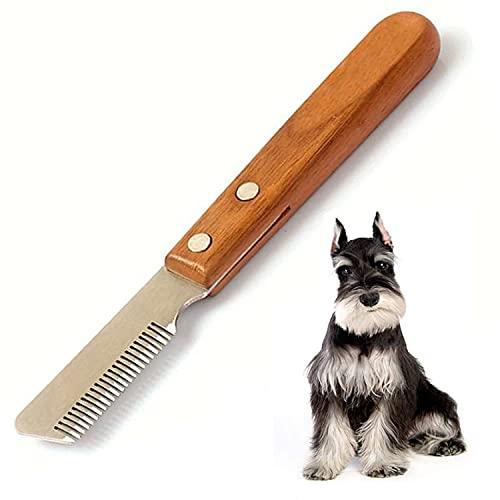 Aidiyapet Coltello da Stripping a Denti Stretti,Professionale Spogliarello Knife Coarse Ergonomic Wooden Stripping Knife per Cani Spazzola da toelettatura (Destro)