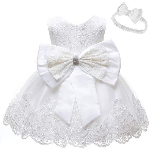 Baby Girls Lace Dress Bowknot Flower Dresses Wedding Pageant Battesimo Battesimo Tutu Gown