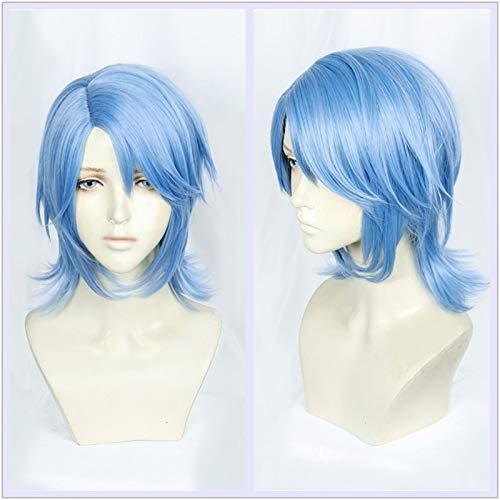 Nuevo juego Anime Kingdom Hearts III Aqua Cosplay Peluca Halloween Juego de roles Gris-azul Cabello Halloween Cosplay Disfraz Peluca Cabello