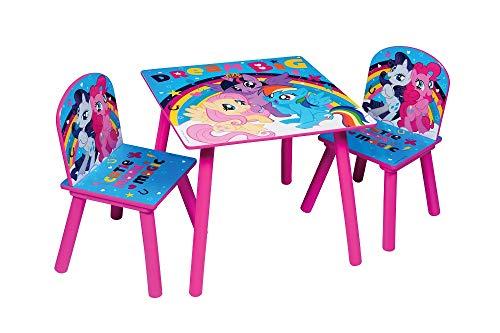 Familie24 My Little Pony 3tlg. Holz Kindersitzgruppe Auswahl Tisch + 2X Stuhl Sitzgruppe Kindertisch (My Little Pony)