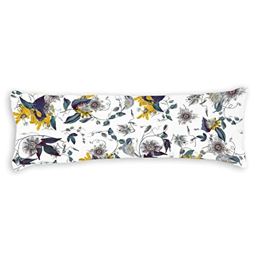 Promini White Yellow Garden Passiflora Floral Pattern Body Pillow Cover Pillowcases Cushion with Hidden Zipper Closure for Sofa Bench Bed Home Decor 20'x54'