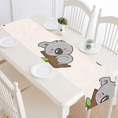Centro de Mesa Runner Kawaii Koala Lovely Cute Cartoon Vintage Table Runner Decorativo Table Runner 16x72 Pulgadas para cenas Fiestas Eventos Decoración