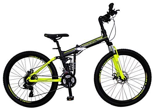Bicicleta Plegable de Montaña Modelo 'Klamp' con Amortiguadores, Suspensión Delantera y Trasera, Rodada 26 21 Velocidades (Amarilla)