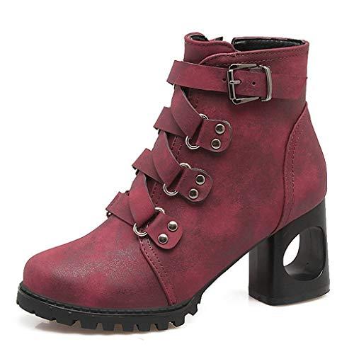 Supertong Damen Stiefeletten Plateau Chelsea Ankle Boots Einfarbig Vintage Nieten Biker Stiefel...