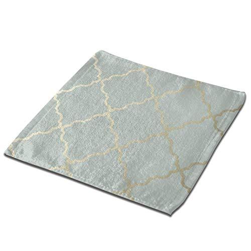 Toalla cuadrada 3D verde Rhombus Line Grid Ultra suave y altamente absorbente Toallas de mano Paños para el hogar, hotel, spa, cocina, 33 x 33 pulgadas